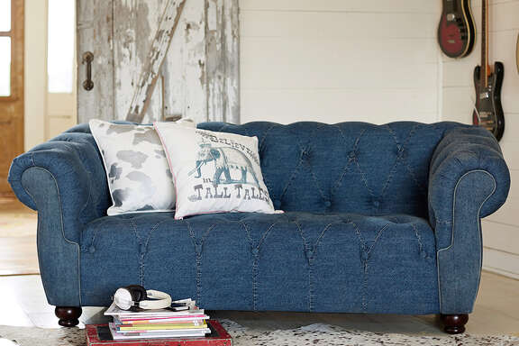 Junk Gypsy Blue Jean Chesterfield Loveseat, $1,099 at PB Teen