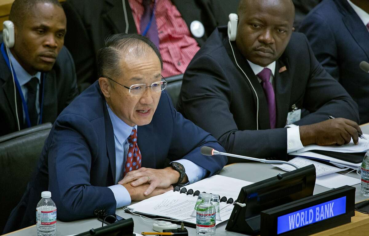 Dr. Jim Yong Kim, President of The World Bank, speaks at a high level meeting on the Ebola outbreak during the 69th United Nations General Assembly at U.N. headquarters, Thursday, Sept. 25, 2014. (AP Photo/Craig Ruttle)