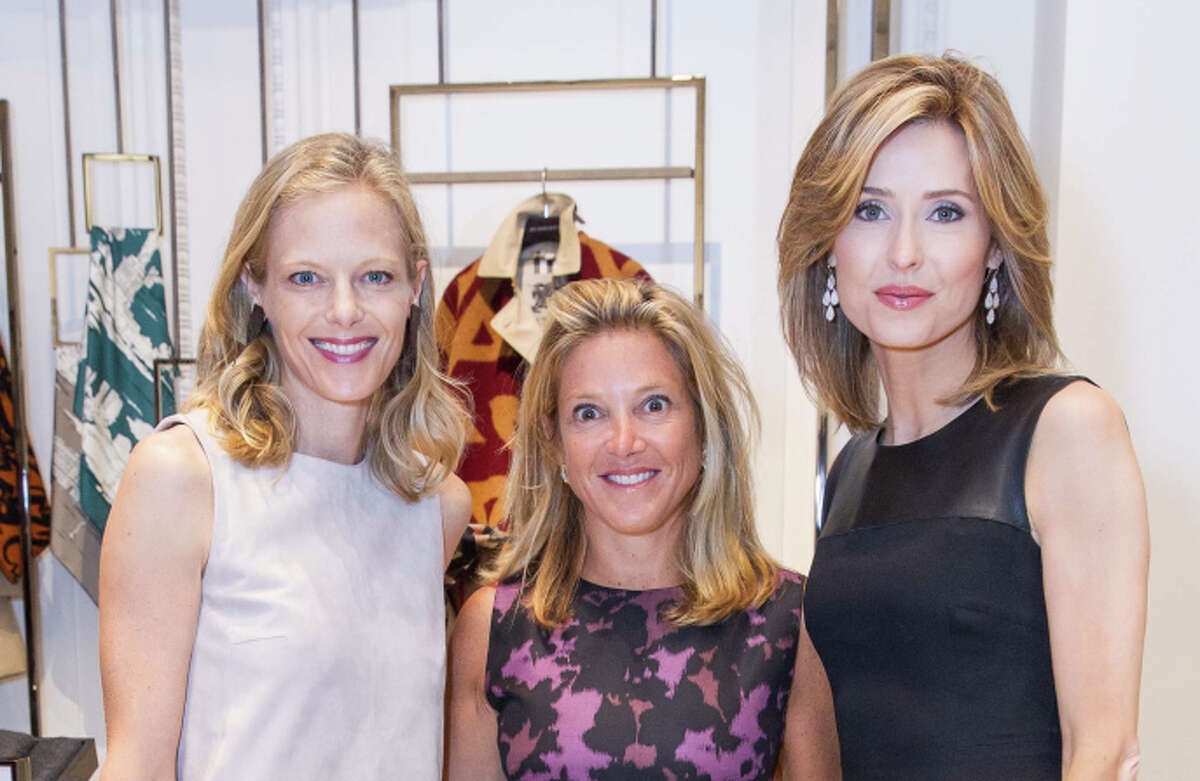 Katie Traina (left), Kathryn Lasater and Kate Harbin Clammer co-hosted the reopening of the Burberry boutique.