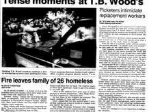 A clipping from June 11, 1990 edition of Public Opinion, a Gannett newspaper, features a story on the tense situation surrounding the strike at T. B. Wood's in Chambersburg, PA