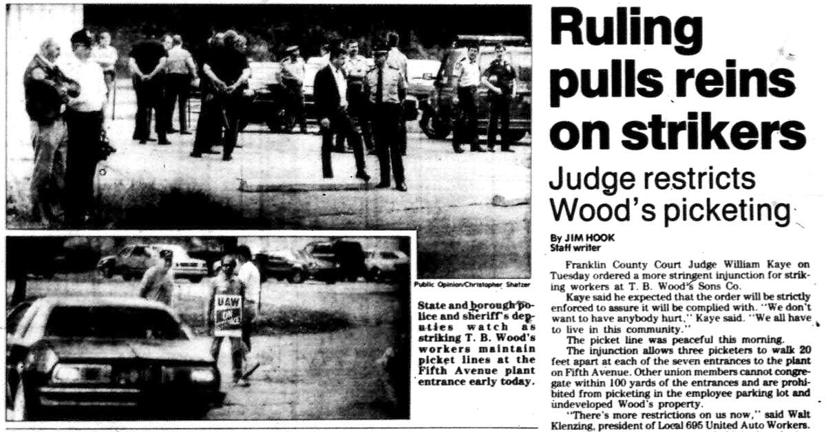 A clipping from June 27, 1990 edition of Public Opinion, a Gannett newspaper, features a page one story on new rules for strikers picketing at T. B. Wood's in Chambersburg, PA