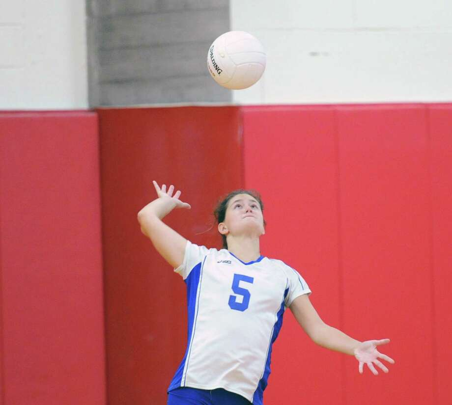 Girls high school volleyball between Greenwich High School and Darien High School at Greenwich, Tuesday, Oct. 14, 2014. Darien won the match over Greenwich, 3-0. Photo: Bob Luckey / Greenwich Time
