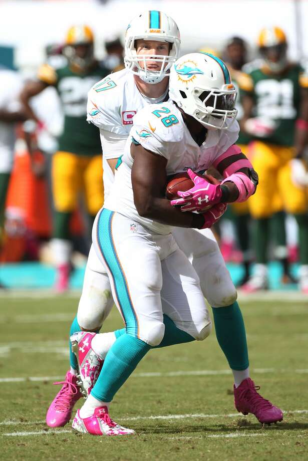 Ryan Tannehill #17 hands off to Knowshon Moreno #28 during an NFL football game between the Green Bay Packers and the Miami Dolphins, Sunday, Oct. 12, 2014, in Miami Gardens, Fla. (Photo by Marc Serota/Panini) Photo: Marc Serota, Associated Press