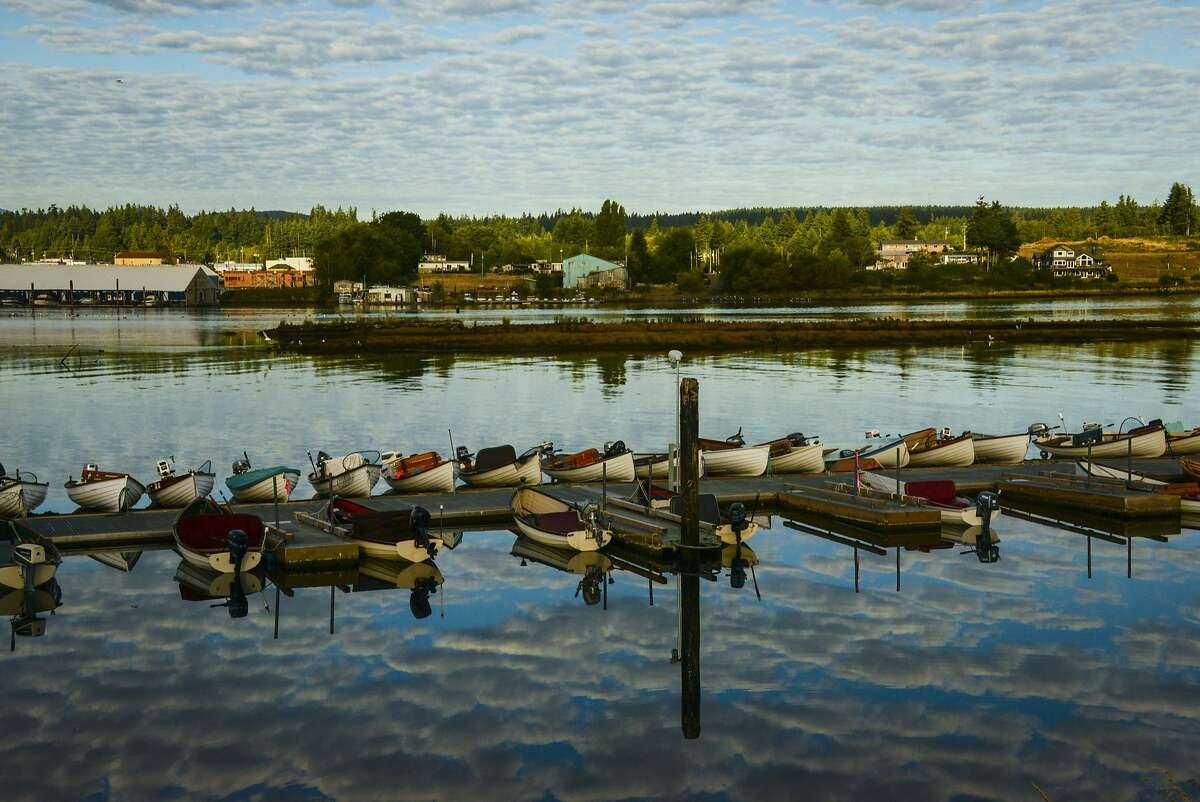 Rowboats line the Tyee Club's dock.