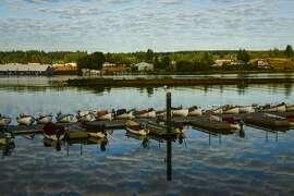 Rowboats line the Tyee Club's dock.
