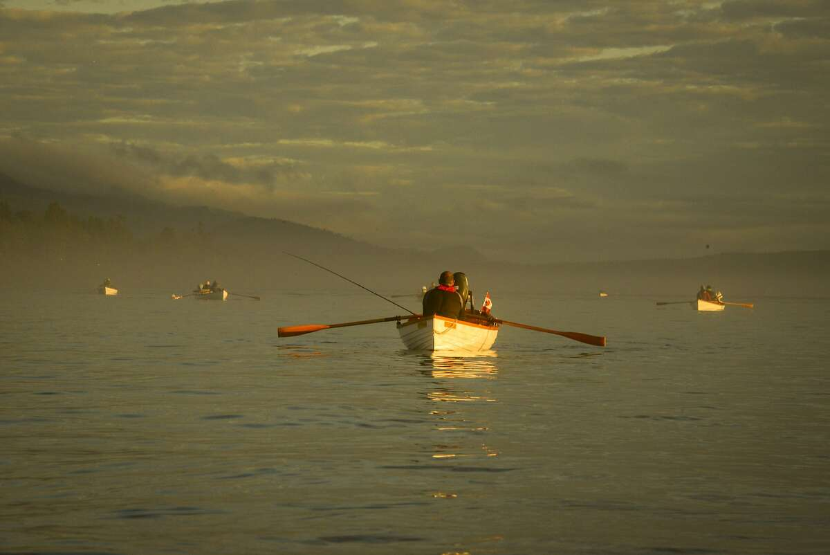 Traditional rowboat fishing in the Tyee pools at the mouth of the Campbell River.