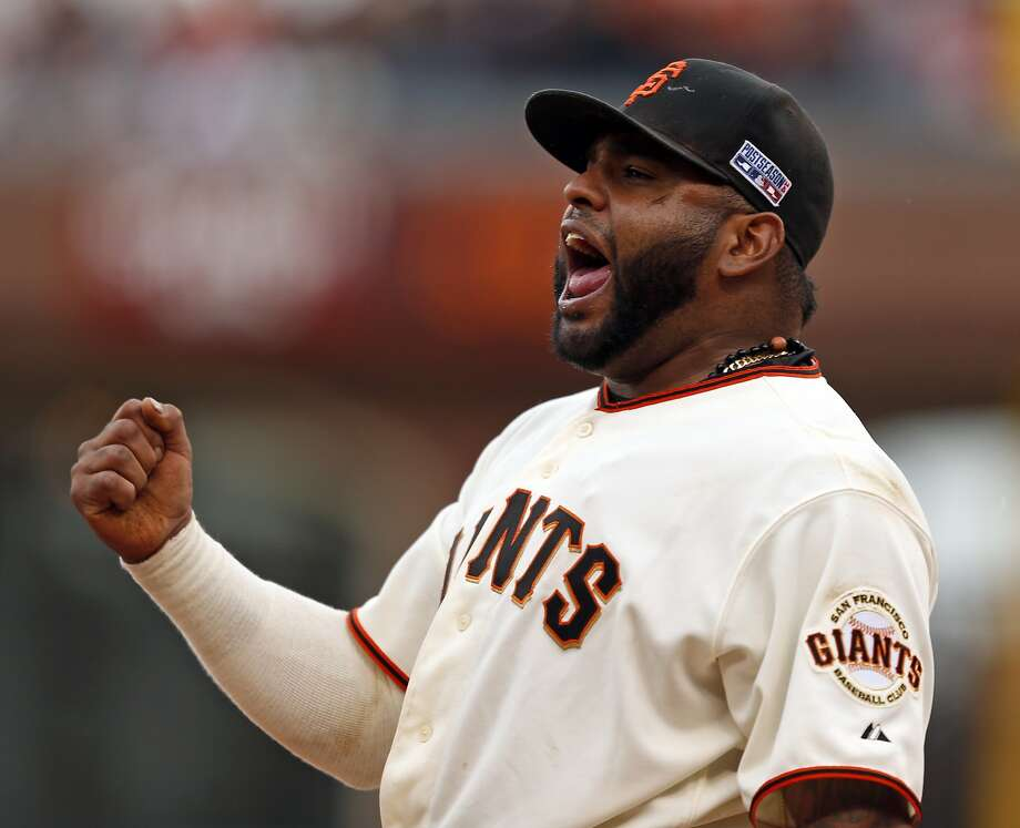 San Francisco Giants' Pablo Sandoval rejoices after making sparkling defensive play to end St. Louis Cardinals' 10th inning during Giants' 5-4 win in Game 3 of the NLCS at AT&T Park in San Francisco, Calif. on Tuesday, October 14, 2014. Photo: Scott Strazzante, The Chronicle