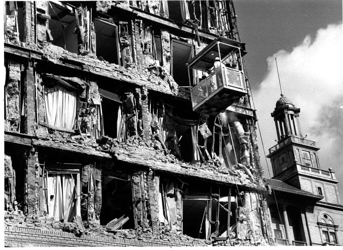 The Oakland Hotel was damaged in the Loma Prieta earthquake on Oct. 17, 1989.