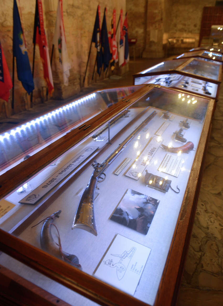 Some of the firearms now on display in the Alamo Shrine as part of the