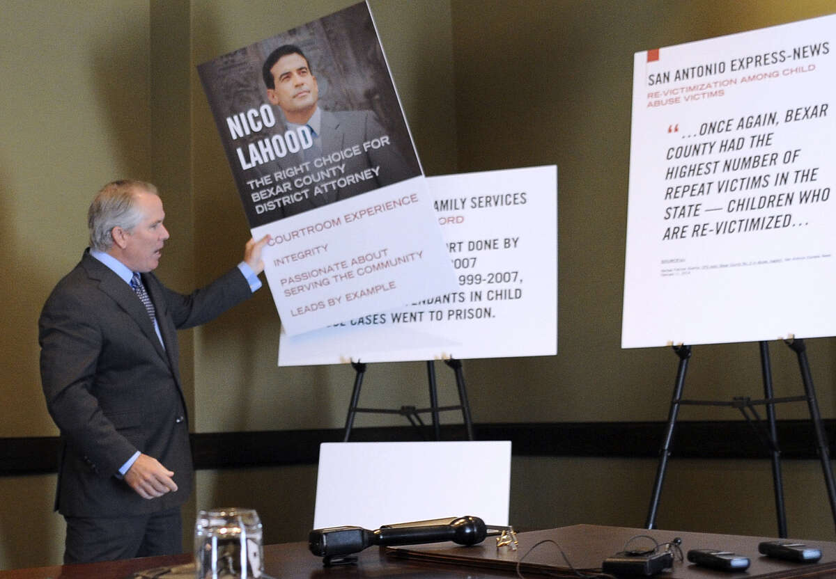 Thomas J. Henry supports Nicholas LaHood's campaign for Bexar County district attorney. Henry said he is giving $350,000 to a nonprofit to help identify and prevent child abuse. The recipient does not want to be identified, Henry said.