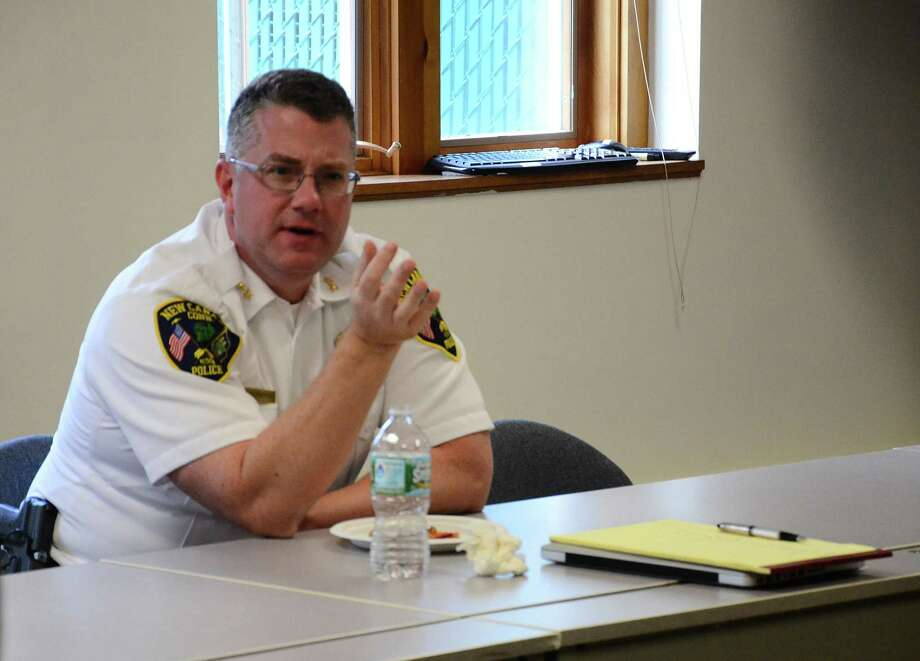 Police Chief Leon Krolikowski met a group of New Canaan, Conn., residents for pizza and an informal discussion Tuesday, Oct. 14, 2014. Photo: Nelson Oliveira / New Canaan News