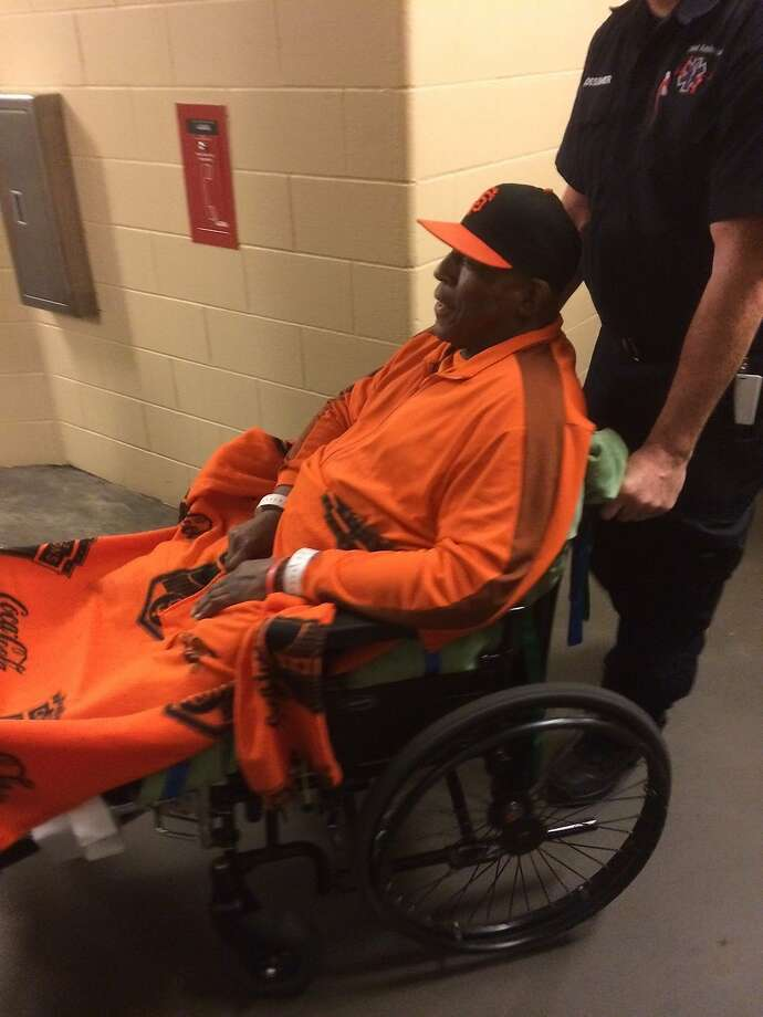 Hall of Fame first baseman Willie McCovey, who was hospitalized last month because of complications from an infection, watched Game3 of the National League Championship Series from a booth along broadcasters  row at AT&T Park, a few booths down from where he normally sits. Photo: Al Saracevic, The Chronicle