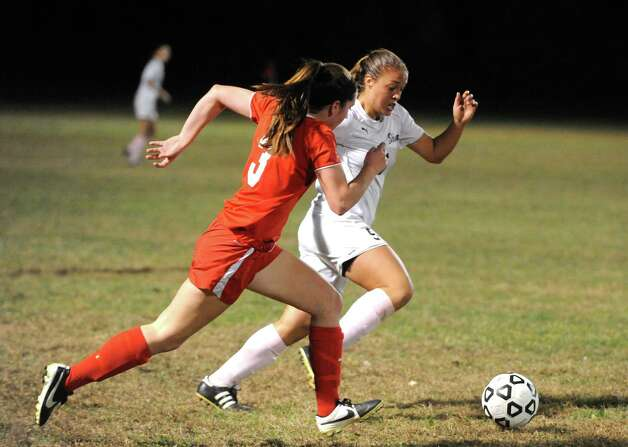 Niskayuna's Claire Karafanda and Shen's Kelsie Moinzadeh battle for the ball during their girl's high school soccer game on Tuesday Oct. 14, 2014 in Clifton Park, N.Y.  (Michael P. Farrell/Times Union) Photo: Michael P. Farrell / 10028989A