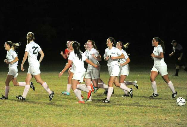 Shenendehowa celebrates after a goal during their girl's high school soccer game against Niskayuna on Tuesday Oct. 14, 2014 in Clifton Park, N.Y.  (Michael P. Farrell/Times Union) Photo: Michael P. Farrell / 10028989A