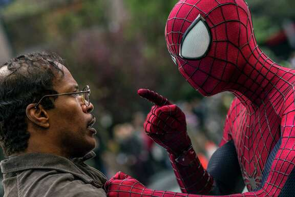 """Jamie Foxx, left, and Andrew Garfield star in """"The Amazing Spider-Man 2,"""" which screens at Willow Waterhole on Sunday."""
