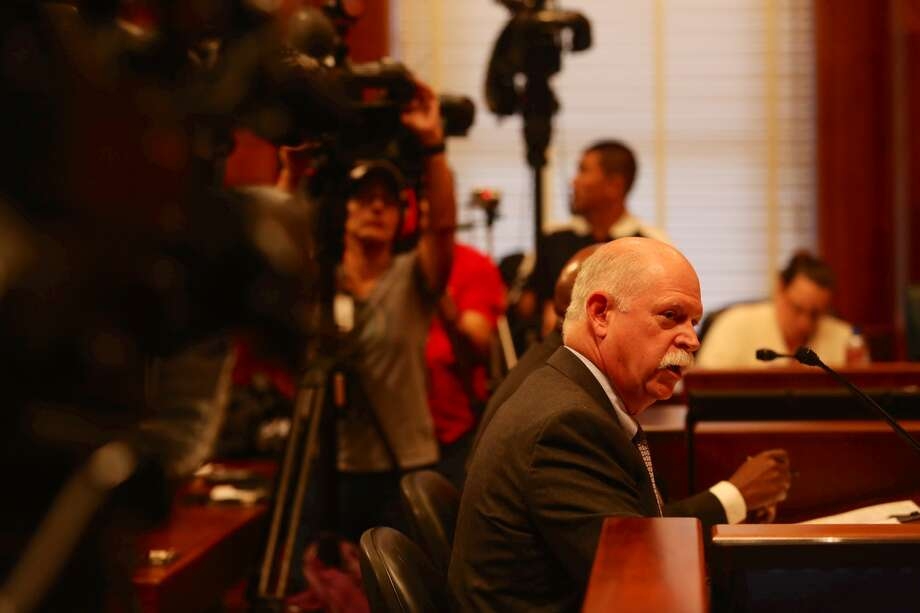Dr. David Persse, Houston Emergency Medical Services director, briefs the City Council on Wednesday about the city's Ebola readiness. Photo: Gary Coronado / Houston Chronicle