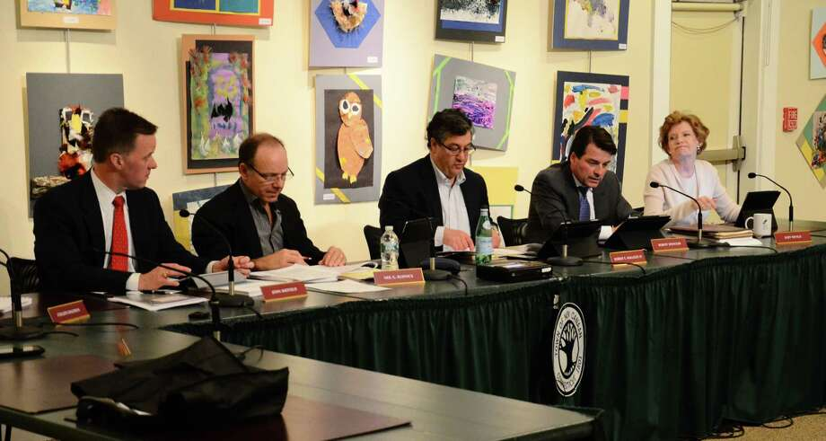Board of Finance members at an April 8, 2014, meeting at the New Canaan Nature Center, New Canaan, Conn. From left to right, John Sheffield, Neil Budnick, Robert Mallozzi, Robert Spangler and Judy Neville. Photo: Nelson Oliveira / New Canaan News