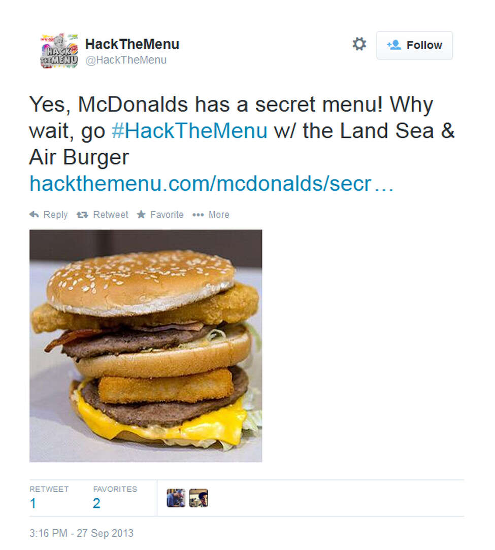 McDonald's Land, Sea and Air BurgerWhat is it? Named for the places where its main ingredients can be found, add up a Big Mac (land), a Filet-O-Fish (sea) and a McChicken (air - but do chickens fly?) and top it off with tartar sauce.