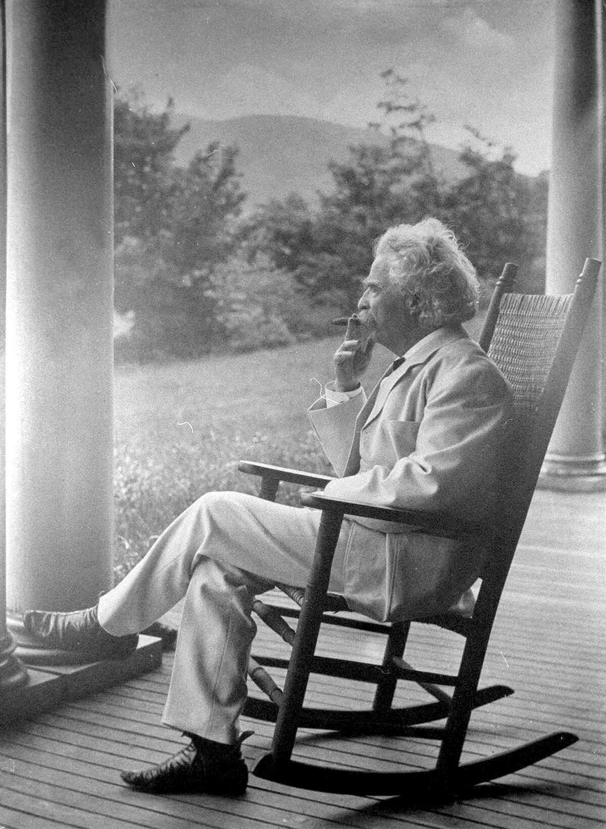 Mark Twain photo at the Redding Library named after him
