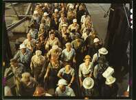 Workers leaving the Pennsylvania shipyards. June 1943.