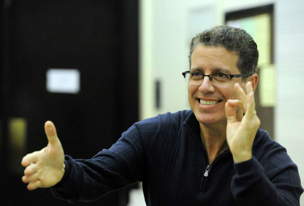 Jose-Daniel Flores, the new artistic director/conductor of Albany Pro Musica, leading a rehearsal at UAlbany on Tuesday Sept. 30, 2014 in Albany, N.Y. (Michael P. Farrell/Times Union)