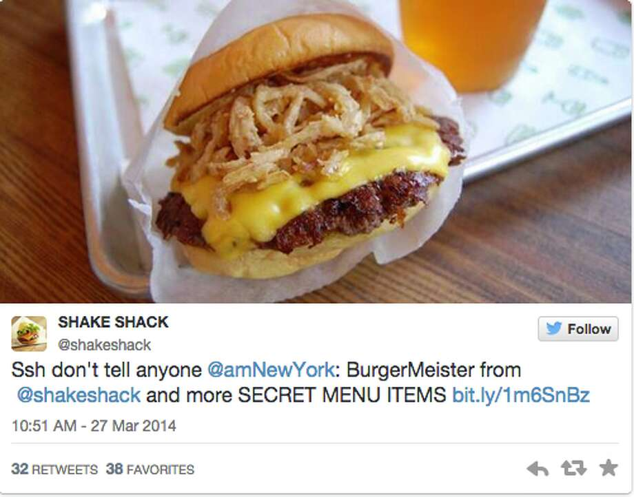 """Shake Shack BurgerMeisterWhat is it?A cheeseburger topped with """"ShackSauce"""" and crispy shallots marinated in ShackMeister Ale."""