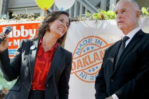 A beaming mayoral candidate Libby Schaaf thanked the Governor after his enforcement Monday October 6, 2014 in Oakland, Calif. California Governor and former Oakland Mayor Jerry Brown formally endorsed Libby Schaaf for Oakland mayor at her campaign headquarters.
