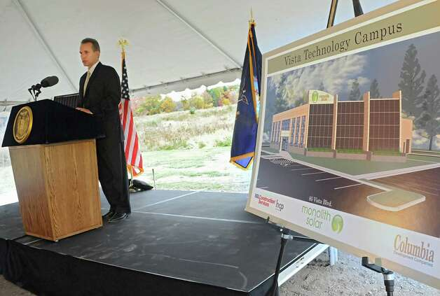 Mark Fobare, president and CEO of Monolith Solar, speaks during an announcement that Monolith Solar will build its new headquarters, and research and development and manufacturing facility in the Vista Technology Campus at the Vista Technology Campus on Wednesday, Oct. 15, 2014 in Slingerlands, N.Y. (Lori Van Buren / Times Union) Photo: Lori Van Buren / 10029032A