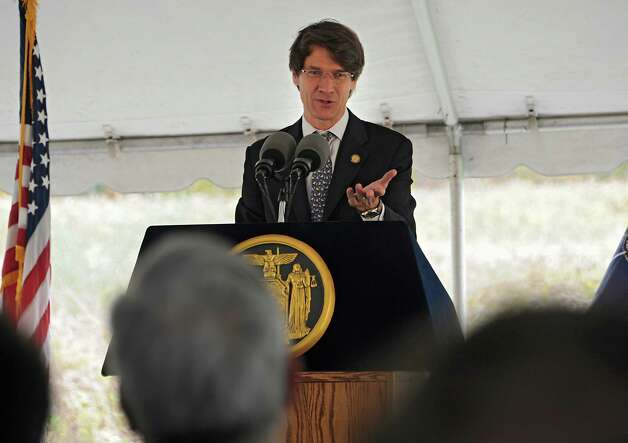 Ken Adams, president and CEO of Empire State Development speaks during an announcement that Monolith Solar will build its new headquarters, and research and development and manufacturing facility in the Vista Technology Campus at the Vista Technology Campus on Wednesday, Oct. 15, 2014 in Slingerlands, N.Y. (Lori Van Buren / Times Union) Photo: Lori Van Buren / 10029032A