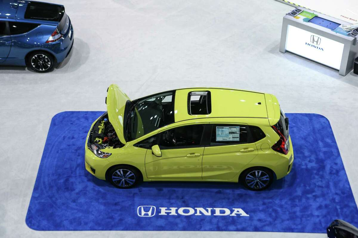 A Honda Fit is shown during the Seattle Auto Show at CenturyLink Field Events Center. The Seattle Auto Show continues through October 19th. Photographed on Wednesday, October 15, 2014.