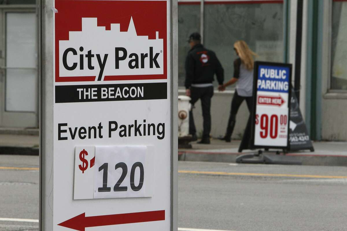 Signs for parking with rates of $120 and $90 are seen along Townsend near Third Street on Wednesday, October 15, 2014 in San Francisco, Calif.