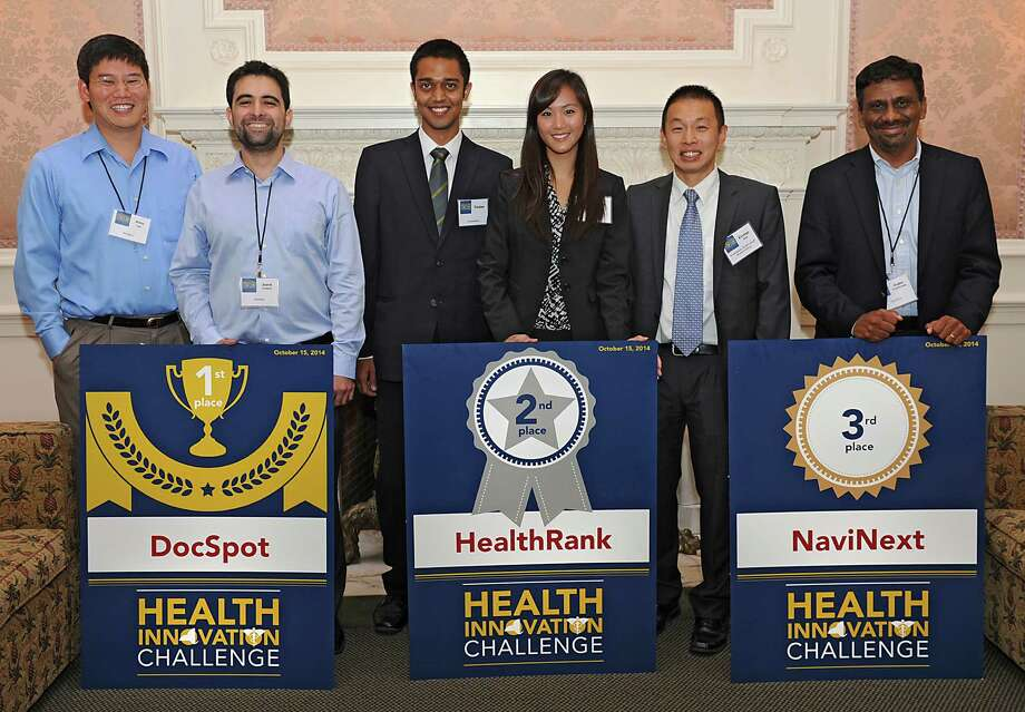 The New York State Department of Health announced the winners of the inaugural New York State Health Innovation Challenge at the Rockefeller Institute of Government on Wednesday, Oct. 15, 2014 in Albany, N.Y. From left, first place winners DocSpot, Jerry Liu and Jared Cordova. Second place HealthRank, Tushar, Anna Zhu and George Shih. Third Place NaviNext, Jegan Candassamy. The challenge was a a four-month contest among tech companies vying to create the most useful technological tool to help consumers make sense of New YorkOs health data. (Lori Van Buren / Times Union) Photo: Lori Van Buren / 10029037A