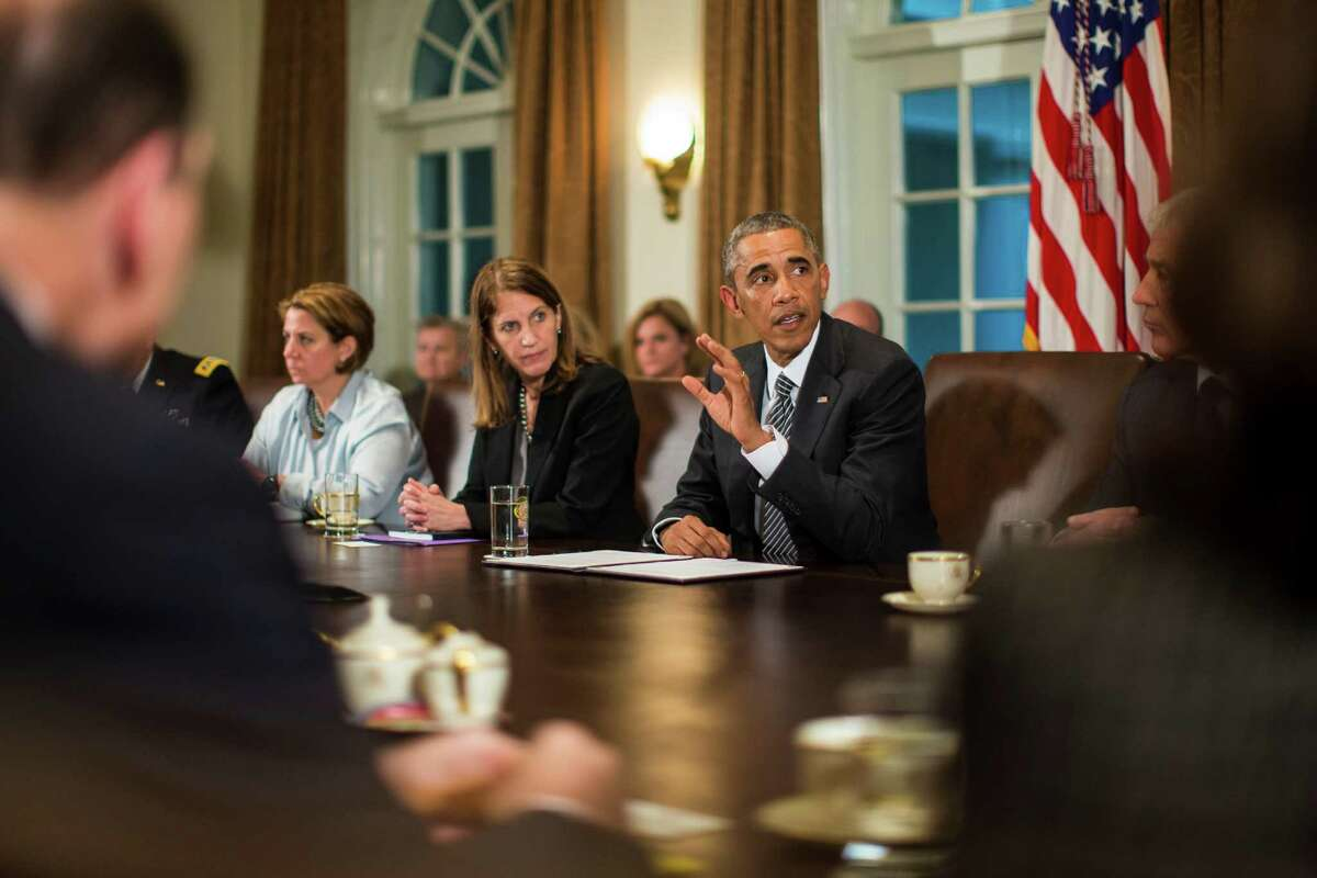 President Obama speaks at a meeting of top Cabinet officials to coordinate the government response to the Ebola outbreak.