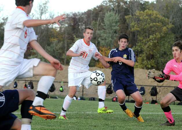 Bethlehem's Luke Dole, center, during their soccer game against Averill Park on Thursday Oct. 9, 2014 in Delmar, N.Y.  (Michael P. Farrell/Times Union) Photo: Michael P. Farrell / 10028949A