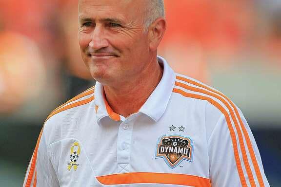 Houston Dynamo head coach Dominic Kinnear before the first half of MSL soccer game between the Chicago Fire and the Houston Dynamo at BBVA Compass Stadium Sunday, Sept. 28, 2014, in Houston.  ( James Nielsen / Houston Chronicle )