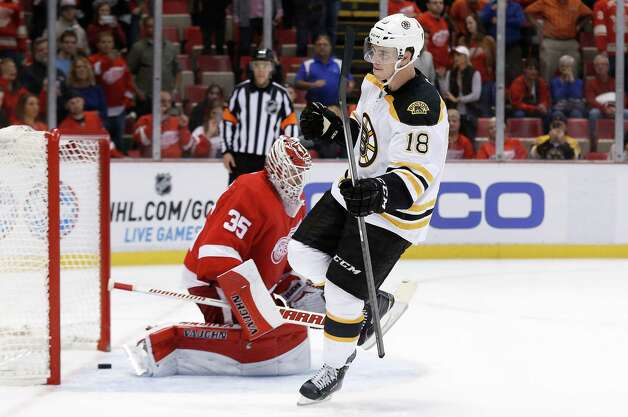Boston Bruins right wing Reilly Smith (18) celebrates his shootout goal against Detroit Red Wings goalie Jimmy Howard (35) in an NHL hockey game in Detroit, Wednesday, Oct. 15, 2014. Boston won 3-2 in the shootout. (AP Photo/Paul Sancya) ORG XMIT: MIPS111 Photo: Paul Sancya / AP