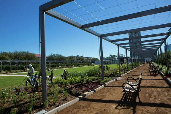 The Arbor Walk on the McGovern Centennial Gardens will be surrounded by grass, gardens and will have benches for the public to relax, play, engage and learn. Wednesday, Oct. 15, 2014, in Houston. ( Marie D. De Jesus / Houston Chronicle )