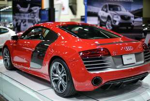 An Audi R8 V-10 Plus is shown during the Seattle Auto Show at CenturyLink Field Events Center. The Seattle Auto Show continues through October 19th. Photographed on Wednesday, October 15, 2014.