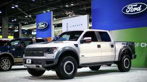 A Ford truck is shown during the Seattle Auto Show at CenturyLink Field Events Center. The Seattle Auto Show continues through October 19th. Photographed on Wednesday, October 15, 2014.