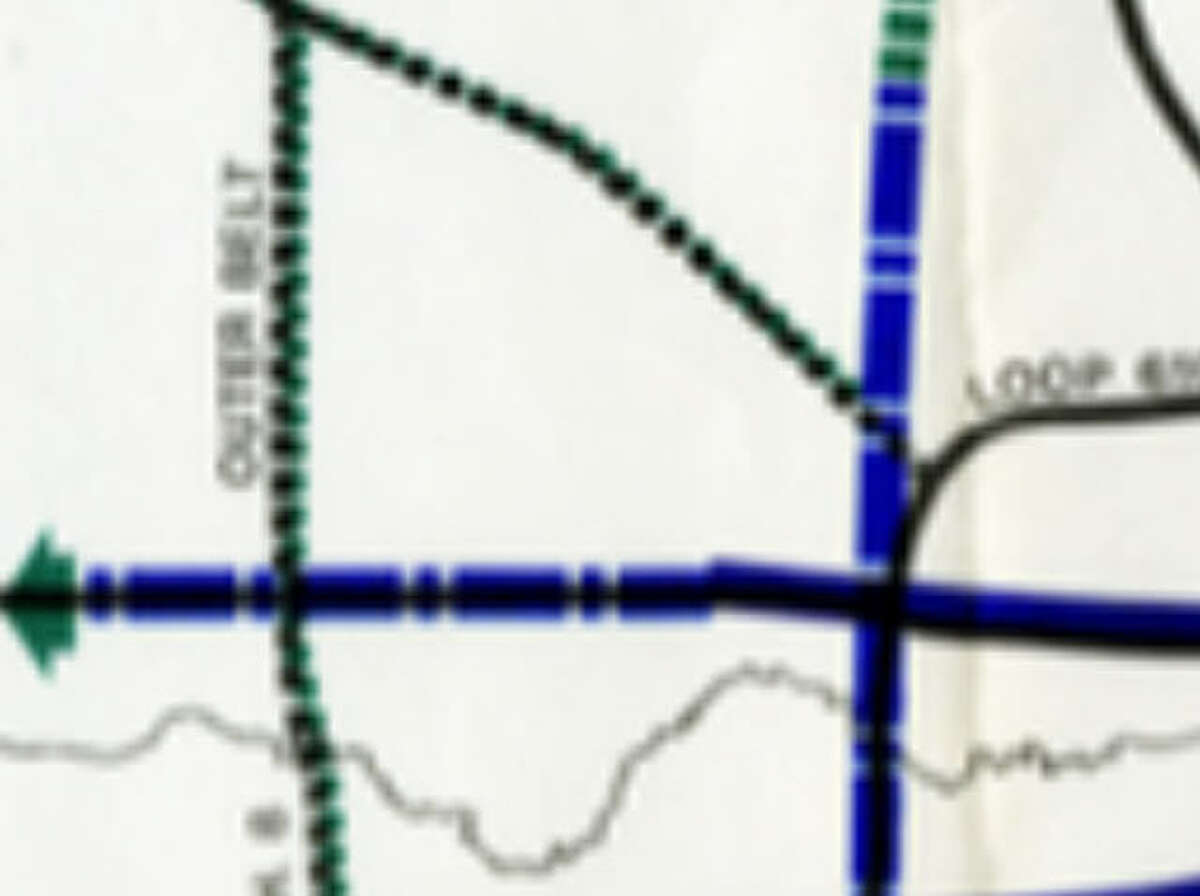 Year: 1972Area: Katy and West HoustonIdea: A rail line that would extend just outside Beltway 8 and into downtown, presumably right next to UH-Downtown.