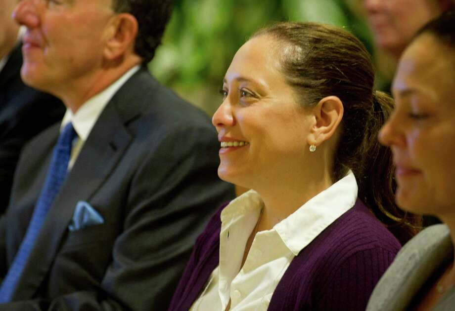 Alexandra Cohen listens during a ceremony at Stamford Hospital to announce that the Steven and Alexandra Cohen Foundation gifted the hospital $20 million for pediatric care. It is the largest single gift ever donated to the hospital. Photo: Lindsay Perry / Stamford Advocate