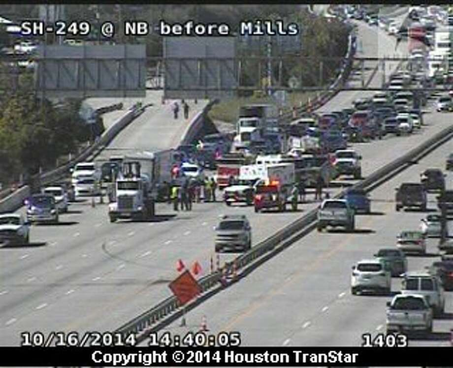 A three-vehicle accident involving at least one heavy truck has shut down all main lanes of southbound Texas 249. Photo: Houston TranStar