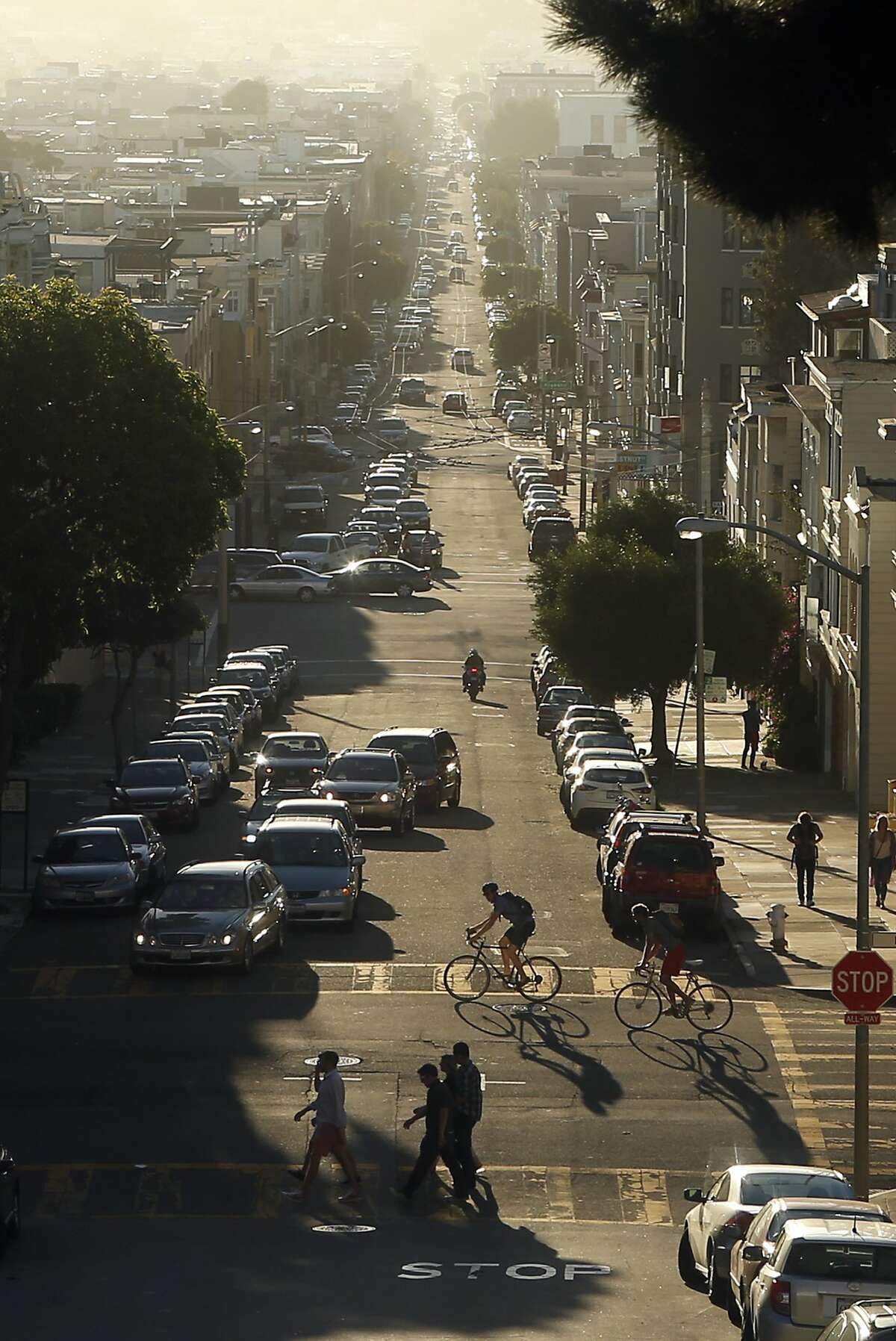 Looking West down Chestnut Street at the Marina District of San Francisco on October 12, 2014.