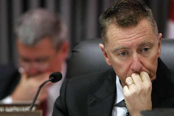 FILE - In this Feb. 14, 2012 file photo, Los Angeles Unified School District Superintendent John Deasy listens during a school board meeting in Los Angeles. Deasy announced his resignation Thursday, Oct. 16, 2014. (AP Photo/Damian Dovarganes, File)