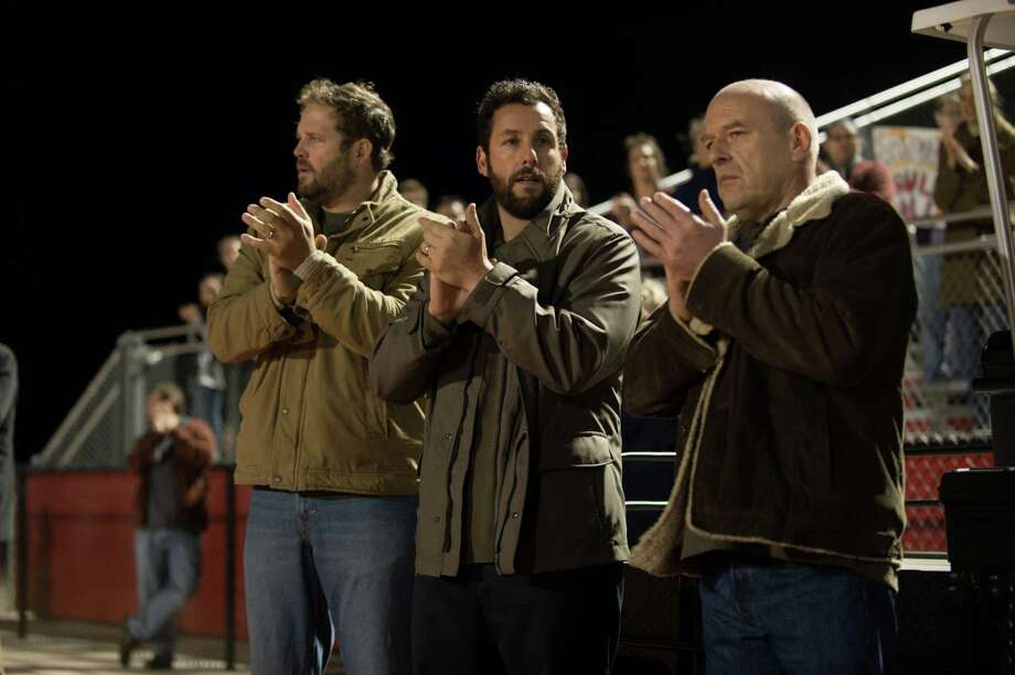 """In this image released by Paramount Pictures, David Denman  Adam Sandler, and Dean Norris appear in a scene from """"Men, Women & Children."""" (AP Photo/Paramount Pictures, Dale Robinette) ORG XMIT: NYET219 Photo: Dale Robinette / Paramount Pictures"""
