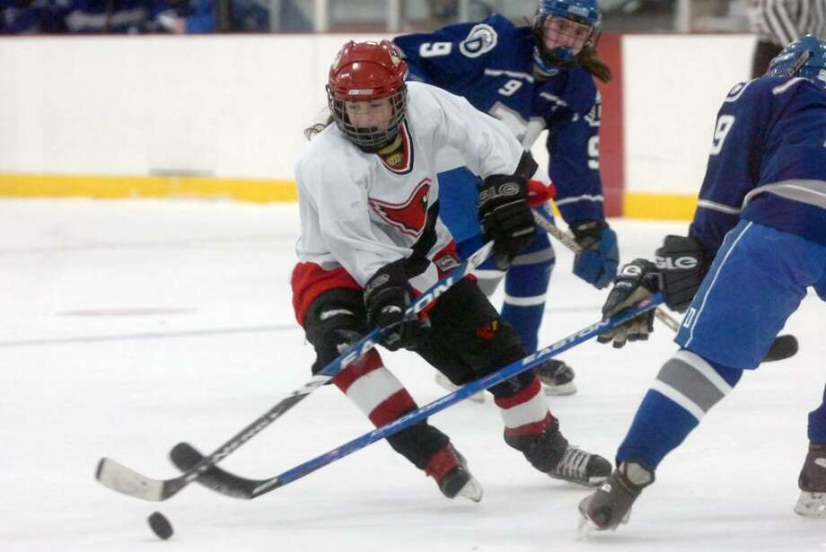 Greenwich's Hannah Jeffrey in action as Greenwich High hosts Darien in a girls ice hockey game at Dorothy Hamill in Byram, CT, Tuesday evening, Feb 16, 2010. Darien won the game in overtime 2-1. Photo: Keelin Daly / Greenwich Time