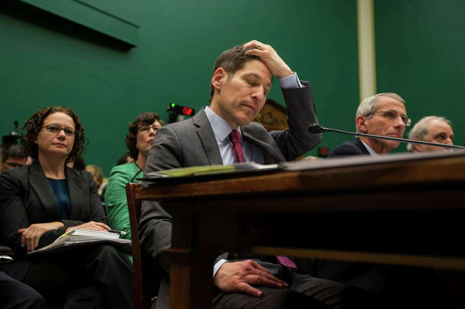 Dr. Tom Frieden, director of the Centers for Disease Control and Prevention, during a House Energy and Commerce Committee hearing on the response to the Ebola outbreak, in Washington, Oct. 16, 2014. Frieden told lawmakers that Texas Presbyterian, the hospital where two nurses contracted Ebola, was now consumed with monitoring dozens of employees for signs of illness. Photo: JABIN BOTSFORD, New York Times / NYTNS