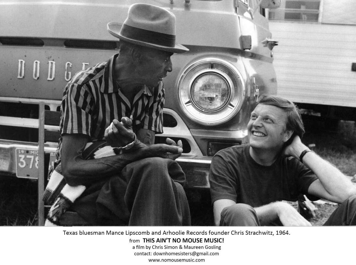 Arhoolie Records founder Chris Strachwitz (right) pictured with Navasota songster Mance Lipscomb in 1964. Strachwitz recorded Lipscomb extensively.