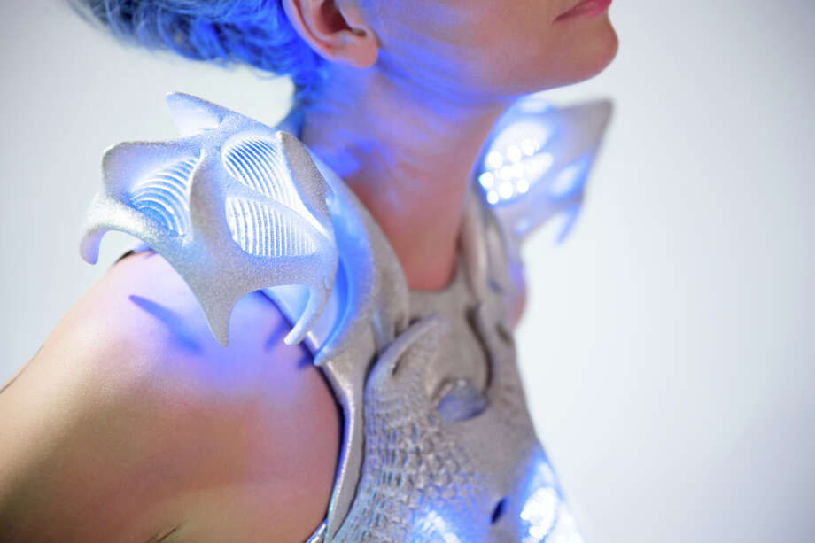 The Synapse dress designed by Anouk Wipprecht uses Intel's Edison chip. The dress lights up when the wearer feels threatened. Photo: Courtesy Of Intel Corp. / ONLINE_YES
