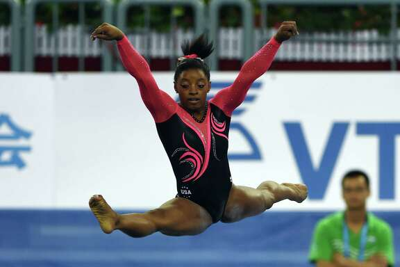 Simone Biles became the first woman in 40 years to win four gold medals at the same competition in the 2014 world championships in Nanning, China.